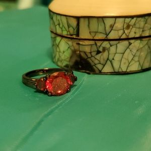 Womens Ruby Size 9 Ring, Dark Setting